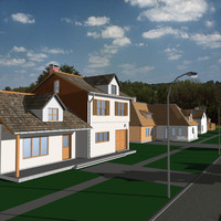 3d neighborhood 2 houses model