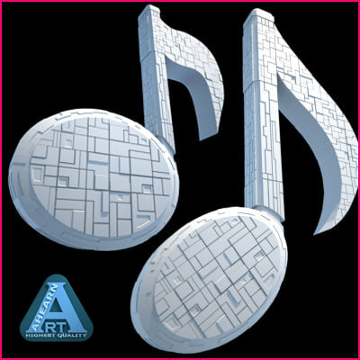 3d set spaceship musical notes model