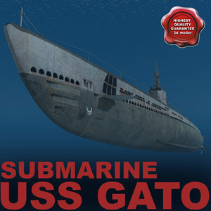 submarine uss gato 3d model