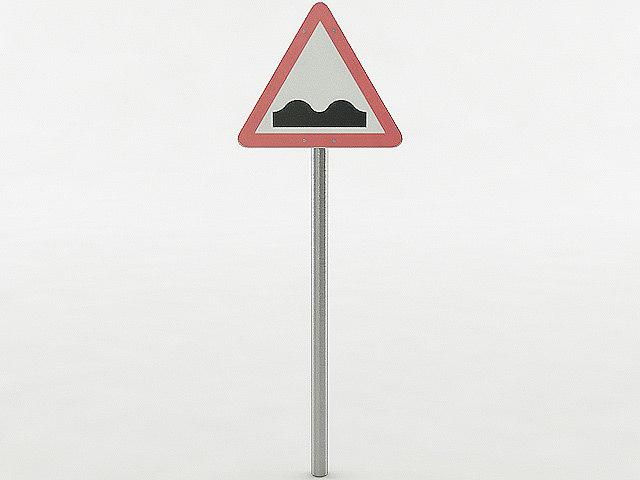 3d european uneven road sign