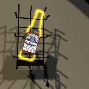 3d budweiser neon sign bud model