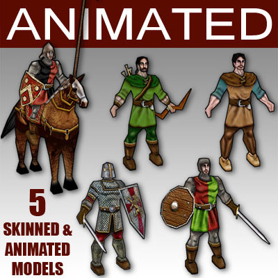 medieval characters 3d model