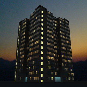 3d building night