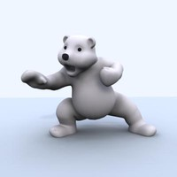 3d model of cartoon polar bear character rig