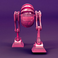 3ds max rigged robot moon walking
