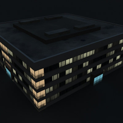 3d industrial building night model