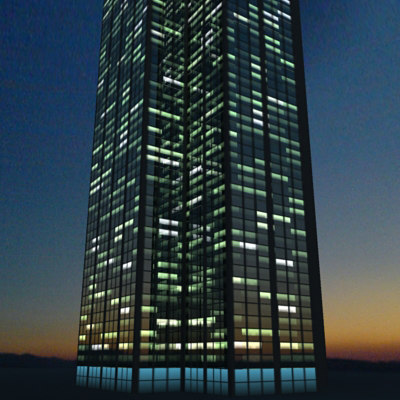 3ds max skyscraper night