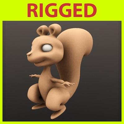 rigged cartoon squirrel 3ds