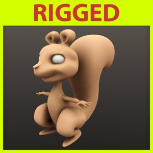 rigged cartoon squirrel 3ds