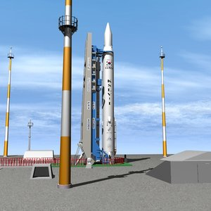 south korean naro launch pad 3d model