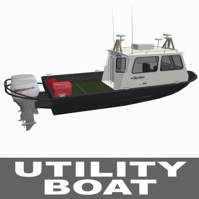 utility boat 3d max