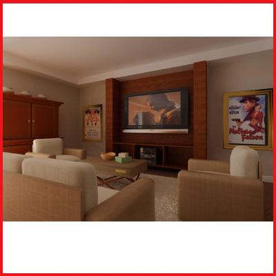 3d realistic living room model