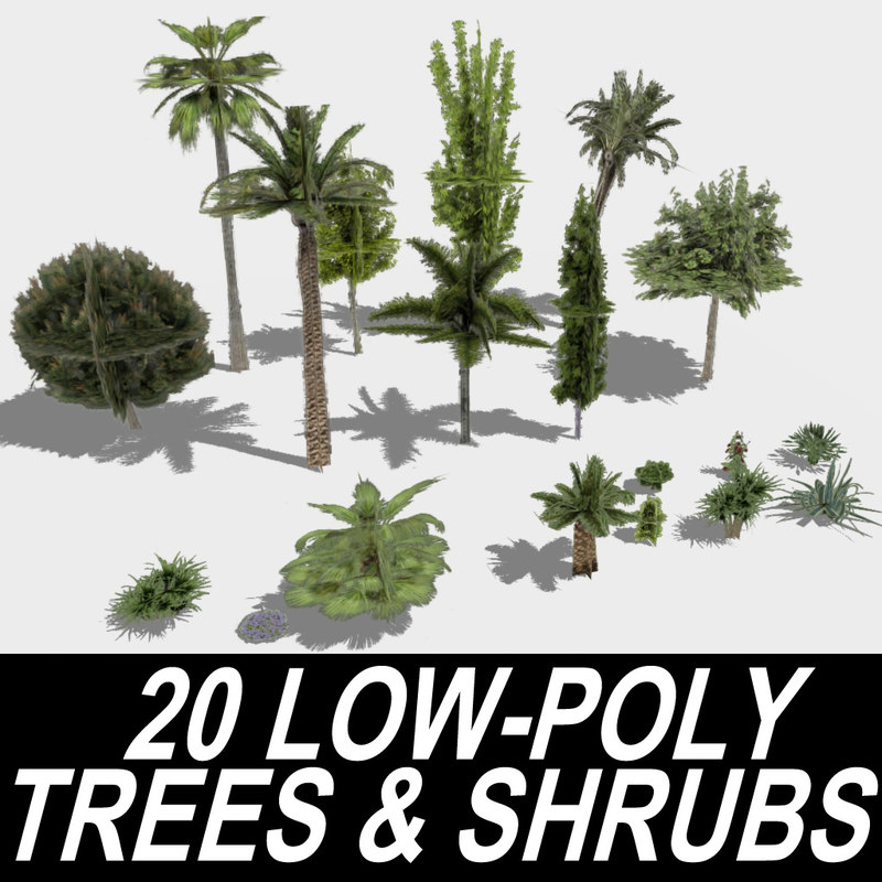 3ds max 20 low-poly trees shrubs