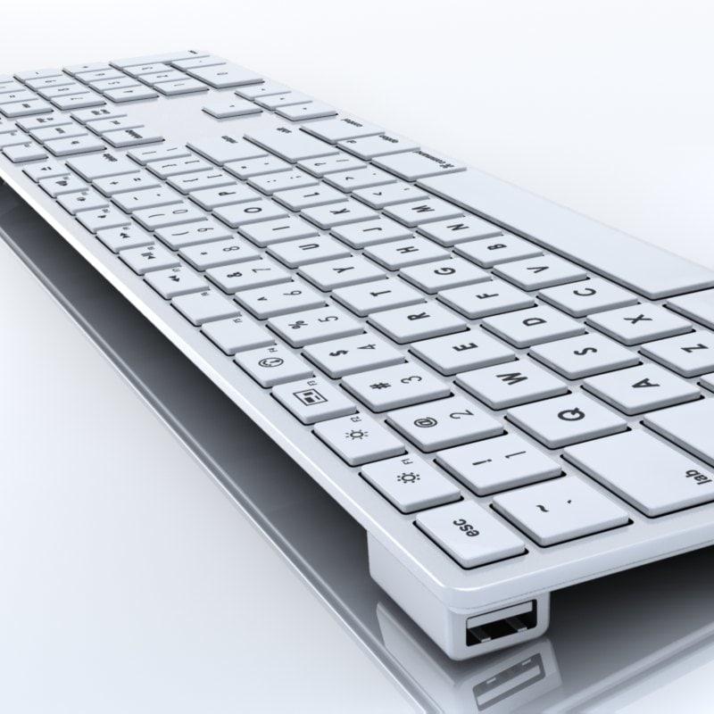 apple keyboard 3d c4d