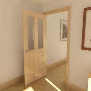 3d model of panelled glazed door