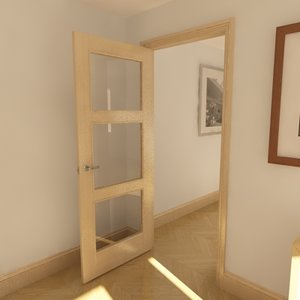 3d 3 panel glazed door model