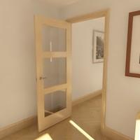 3d model 3 panel glazed door