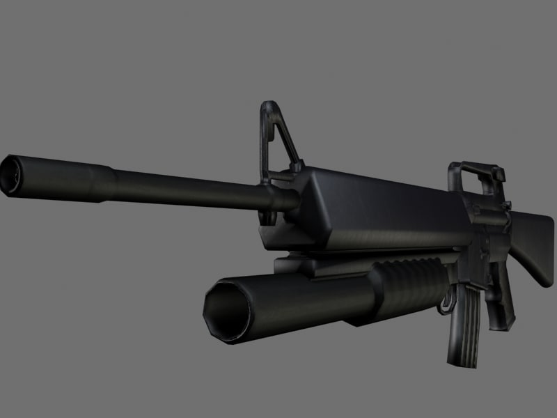 3d obj m16a2 grenade launcher