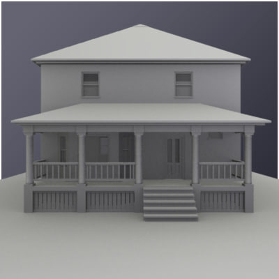 3d model traditional american square house architecture