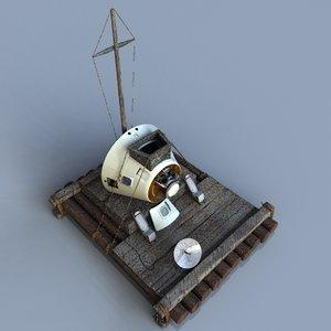 3d 3ds space capsule raft