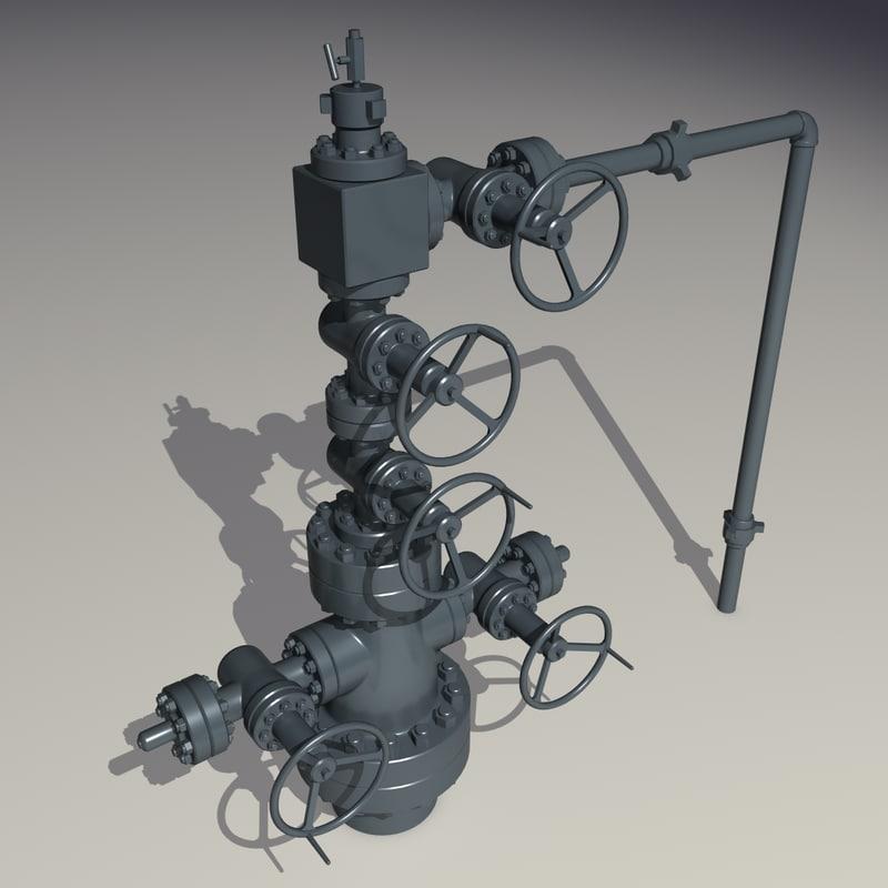 oilfield oil wellhead 3d 3ds