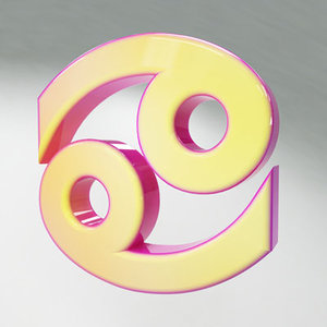 3d model cancer zodiac sign