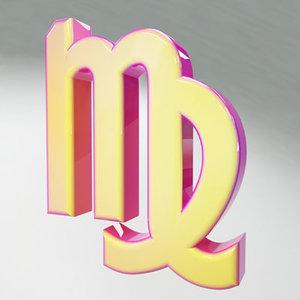 3d virgo zodiac sign model