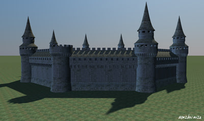 3d model walls medieval castle towers
