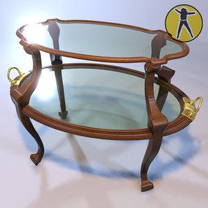 3d model of coffee table art nouveau