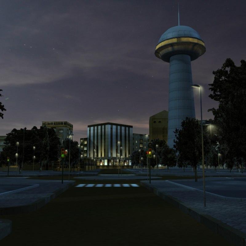 3d model urban city night