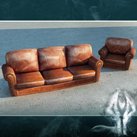 3d couch brown leather armchair model
