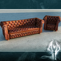3d chesterfield sofa brown leather