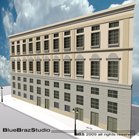 3d european building facade 2