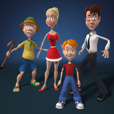 cartoon family c4d