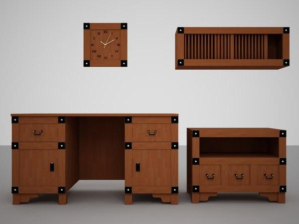 desk tv-table wall 3d model