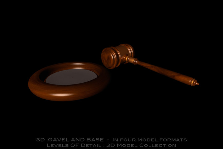 3d court room gavel base model