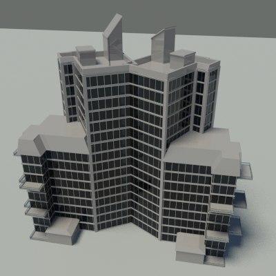 3d rise building 2010 model