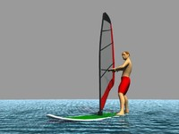 windsurf rigged character 3d model