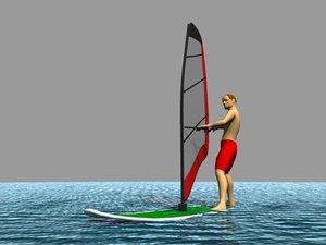 windsurf rigged character 3d model