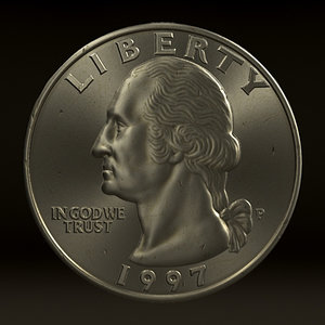 quarter dollar coin 3d model