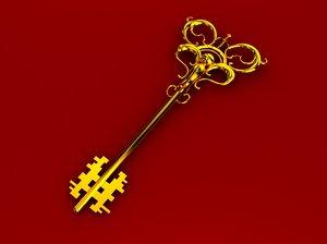 golden decorative key 3d model