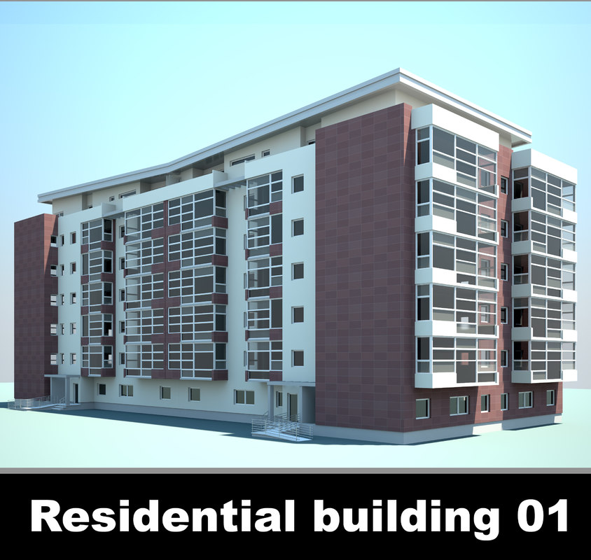 3d model residential building cityscape