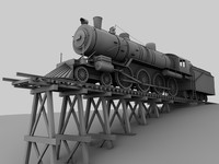 3d model steam rail way