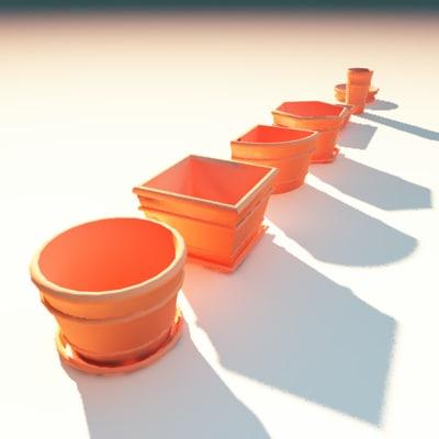 3d vases planters plant containers model