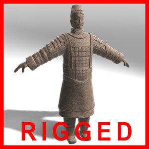 rigged terracotta warrior sale 3d model
