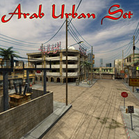 3d model set street arab urban