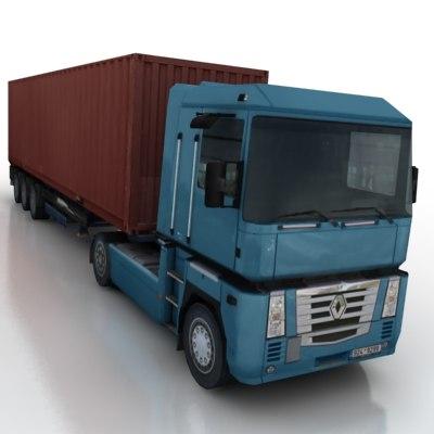 3d model vehicle truck trailer