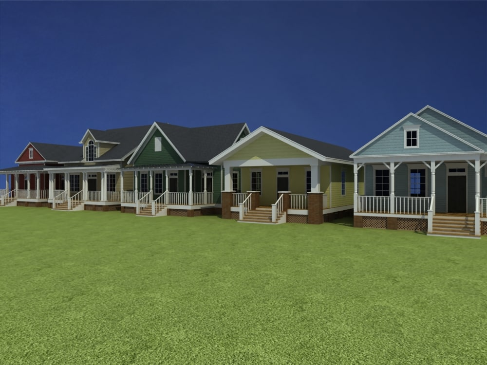 5 cottage homes 3d model