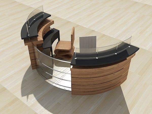 3d modern reception desk