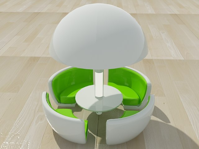 modern sphere dining c4d